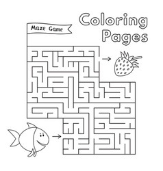 Cartoon fish maze game vector