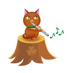Cat with flute on tree stump vector