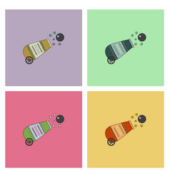 Circus cannon flat icons set vector