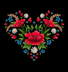 Embroidery stitches with flowers vector