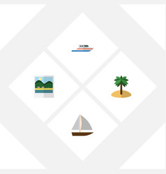 Flat beach set of coconut boat yacht and other vector