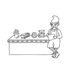 Flat elf boy checking present toys vector