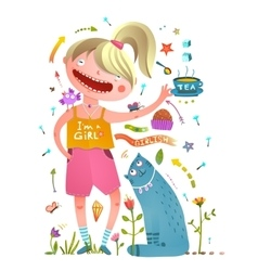 Girl and pet cat drinking tea girlish design vector