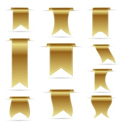 Gold color hanging curved ribbon banners set eps10 vector