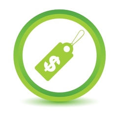 Green dollar tag icon vector
