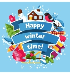 Happy winter time background Merry Christmas New vector image vector image