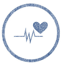 Heart pulse signal rounded fabric textured icon vector