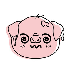 Isolated cute pig face vector