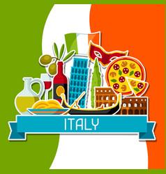 Italy background design italian sticker symbols vector