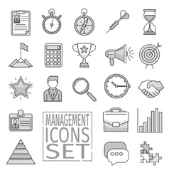 Management line icons vector