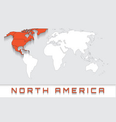 North america on the map vector