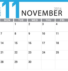 planning calendar November 2016 vector image vector image