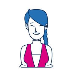 Portrait happy swiss woman with braid hair vector