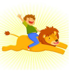 Riding a lion vector