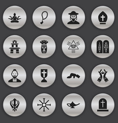 Set of 16 editable faith icons includes symbols vector