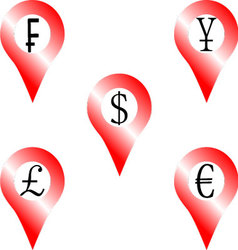 Set of location money symbol vector image vector image