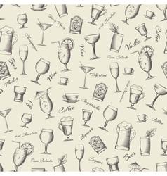 Vintage cocktails seamless pattern vector image