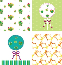 Apple-tree-card-and-seamless-pattern vector