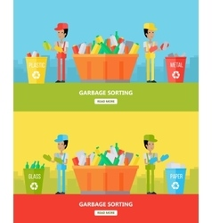 Garbage sorting website design template vector