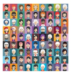 Set of people icons in flat style with faces 26 a vector