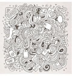cartoon cute doodles hand drawn shopping vector image
