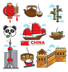 China travelling map with national sightseeings vector