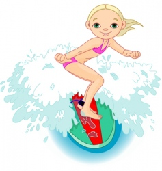 Surfer girl in action vector