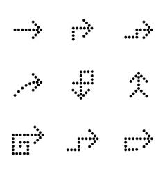 black arrows icons set vector image
