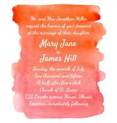 Wedding invitation with watercolor background vector