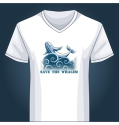 V neck shirt template with jumping whale vector image