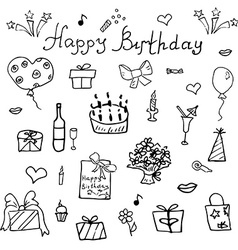 Birthday elements hand drawn set with birthday vector