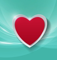 Paper heart on abstract turquoise background vector