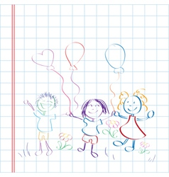 kids hand drawn vector image