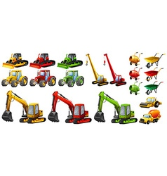 Different tractors and construction equipment vector image