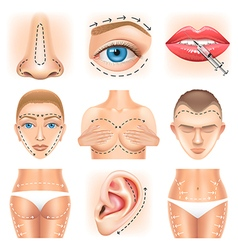Plastic surgery icons set vector image