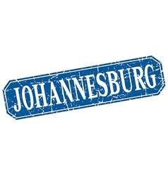 Johannesburg blue square grunge retro style sign vector image