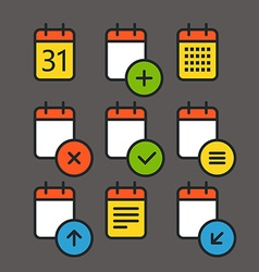 Different calendar color icons set with rounded vector