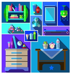 A set of furniture and childrens room vector image