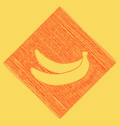 Banana simple sign red scribble icon vector