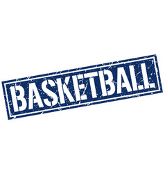 Basketball square grunge stamp vector