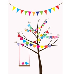 bird swing tree vector image