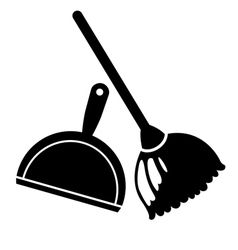 Broom and dustpan icon vector