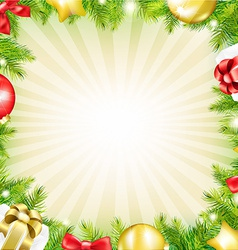 Christmas fir tree card with gifts vector