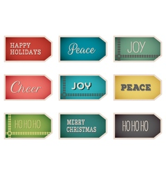 christmas holiday tags labels on white background vector image vector image
