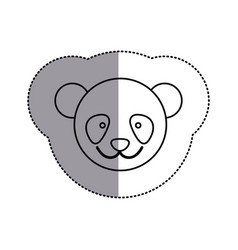 Contour face bear icon vector