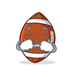 Crying american football character cartoon vector