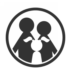 Family in circle black and white simple icon vector