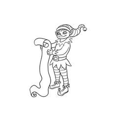 flat elf boy holding paper scroll vector image