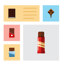 Flat icon chocolate set of dessert bitter sweet vector
