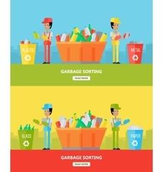 Garbage sorting website design template vector
